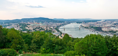 Panorama of Budapest with Danube river.