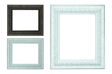 Set of vintage photo frame isolated on white background