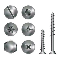 Silver screw heads