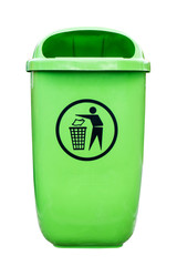 Green plastic dust bin isolated over white background.