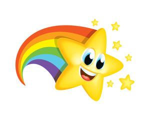 Cartoon Star with Rainbow tail