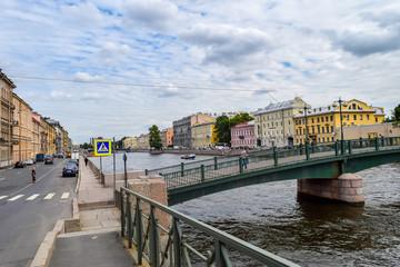 The Fontanka river embankment in Leningrad.