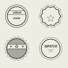 Vector Set of Retro Stamps and Badges. Vintage color.