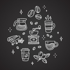 Set of chalk coffee drawings. Beans, cups, spices and more.