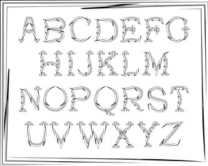 English alphabet cursive