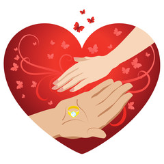 Male and female hand on a background of hearts. Vector