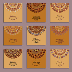 Set of cards with ethnic design