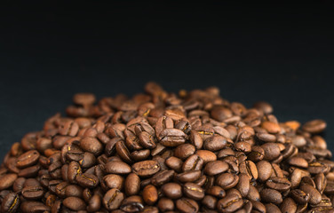 Coffee  bean on black background