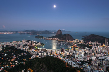 Rio de Janeiro at Night, Sugarloaf Mountain and Moon in the Sky