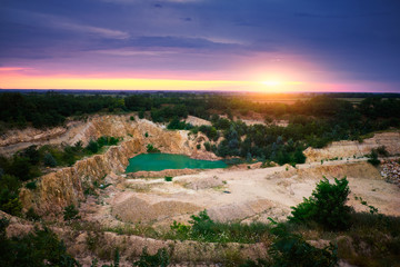 Lake in stone mine