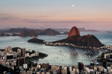 Beautiful Rio de Janeiro Evening with a Full Moon in the Sky