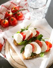 bruschetta with mozzarella and tomatoes