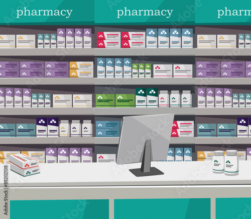 Modern interior pharmacy and drugstore. Sale of vitamins and ...