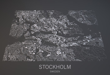 Mappa Stoccolma, vista satellitare, città Svezia, 3d, bianco e nero