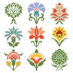 vintage set oriental flowers pattern isolated on white backgroun