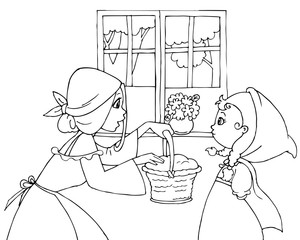 Coloring Red Riding Hood with mom and basket