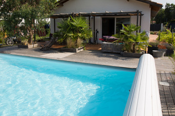Private swimming pool at summertime