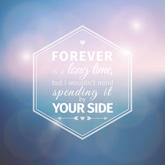 Romantic card on soft blue background