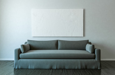 Blank canvas and sofa in empty room mockup - 3D Illustration