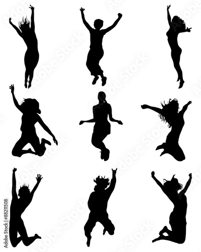 """Silhouettes of people wich jumping and flying, vector ..."