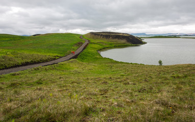Volcano's crater in Myvatn lake, Iceland