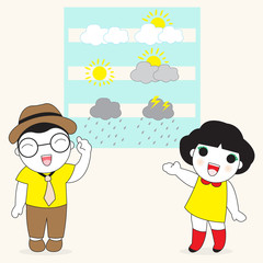 Male And Female Weather Reporters Character illustration