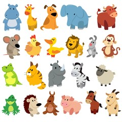 Set of cute cartoon wild animals and pets.