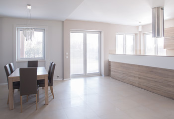 Dining space in minimalistic house