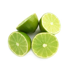 Four halves of a lime fruit isolated over the white background
