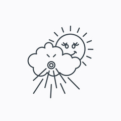 Wind icon. Cloud with sun and storm sign.