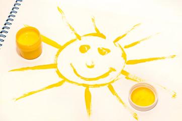 smiling sun on white