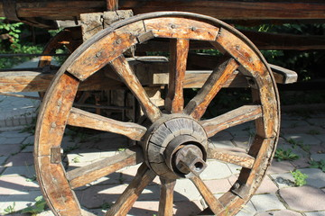 Close up on an old Wagon Wheel.
