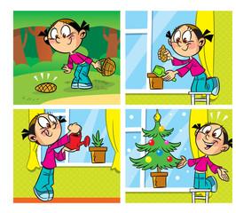comics with a Christmas tree