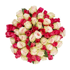 Bouquet of roses, top view