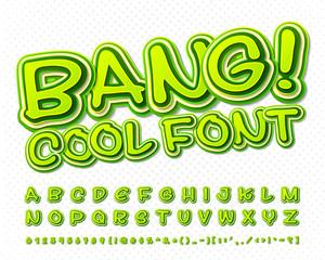 Creative high detail green comic font. Alphabet, comics, pop art.