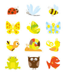 set of little nice creatures - collection for children