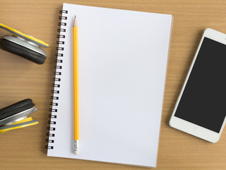 blank notebook with music concept