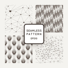 A set of four vector seamless patterns. Polygons. Grid. Wavy lines. Interlacing.