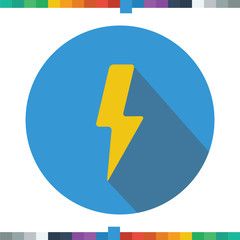 Flat lightning, thunder icon in a cercle with a long shadow.
