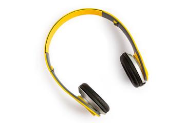 yellow headphone on white background