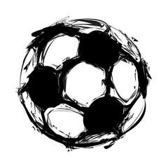 grunge soccer ball on white, easy all editable