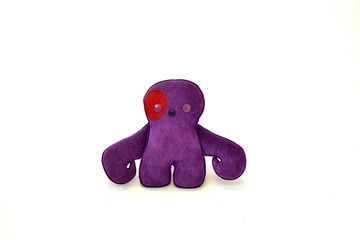 custom handcrafted stuffed leather toy purple creature - front