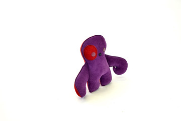 custom handcrafted stuffed leather toy purple creature - left