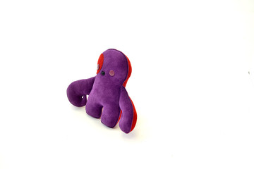 custom handcrafted stuffed leather toy purple creature - right