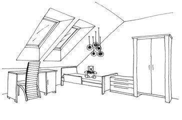 Children's, kids room graphical sketch of an interior, liner