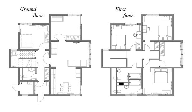 The draft plan of arrangement of all furniture, architect plan, black-and-white,  for two-storeyed house, ground and first floor