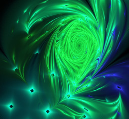 Abstract image of a peacock feather on black computer generated
