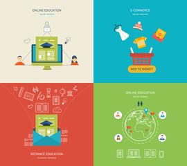 Flat design modern vector illustration icons set of online