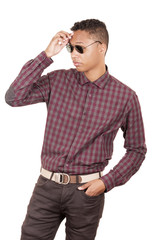 Young hispanic man with casual clothing wearing sunglasses and