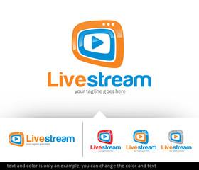 Live Stream Media Logo Design Template Vector